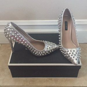 Shoesmint silver spike pointed heels